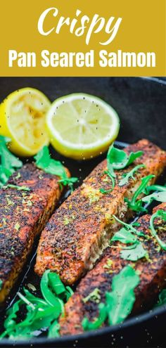This recipe for Pan Seared Salmon from The Mediterranean Dish is amazing! It is quick and easy making it a perfect weeknight meal for your family! #salmonrecipes #weeknightdinner #dinnerideas Crispy Salmon Recipe, Seared Salmon Recipes, Healthy Salmon Recipes, Pan Seared Salmon, Vegetarian Recipes Easy, Cooking Recipes, Microwave Recipes, Smoker Recipes, Delicious Recipes