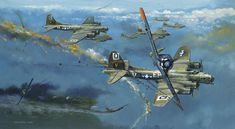 An FW-190 trades a wingtip for a B-17 over Germany.Robert Bailey - High Noon