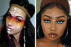 hippie makeup 487514728416196496 - Source by idaleki Native American Makeup, Native American Face Paint, Dance Makeup, Makeup Art, Eye Makeup, Makeup Brushes, Makeup Ideas, Cosplay Makeup, Costume Makeup