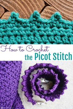 The Picot Stitch Is A Simple, Effective - Diy Crafts Crochet Edging Tutorial, Crochet Border Patterns, Crochet Blanket Edging, Crochet Edges For Blankets, Loom Patterns, Picot Stitch Crochet, Single Crochet Stitch, Crochet Edgings, Crochet Rugs
