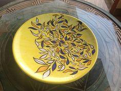 AUTUMN LEAVES.Piatto in ceramica,decocato a mano,decorazione originale,pezzo unico,made in Italy
