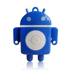 Android Robot Shaped MP3 Player with Micro SD/TF Card Slot Blue