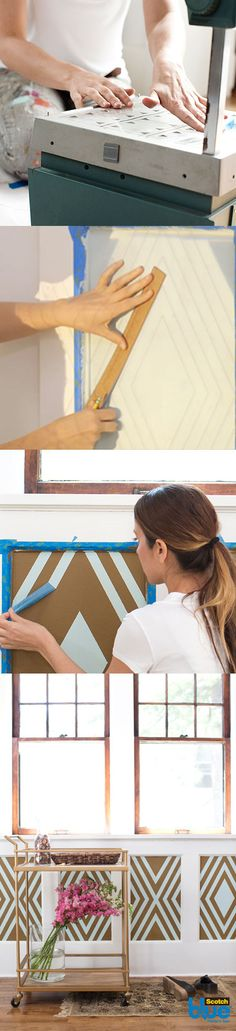 This easy to follow project walks you through how to add a geometrical pattern to transform any space. The free downloadable template helps you create the look in unexpected places, like an entryway or hallway.