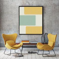 Mosaic wall art, abstract geometric art prints, mid century modern minimalist print, wall decor art print, original art prints duck egg blue