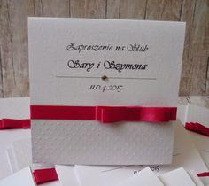 agnieszkapasjonata: Biało-amarantowe zaproszenia ślubne