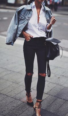 denim on denim fashion blogger wearing winter outfit - #diy