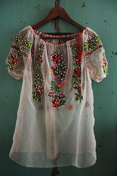 spring comes here -  vintage floral, ethnic embroidered organze blouse / transparent- rustic, woodland spring top / art to wear
