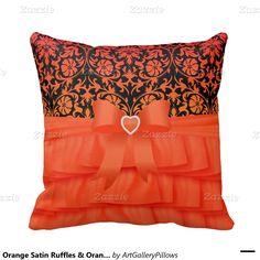 Orange Satin Ruffles & Orange Bow on Damask Pillows