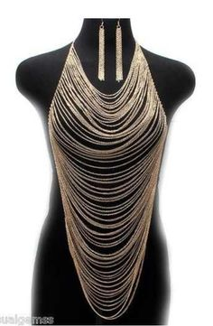 Free shipping new gold thin chains and earrings hook institutions Dragon Body chain harness women $5.68