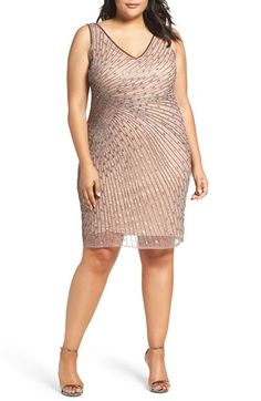Free shipping and returns on Adrianna Papell Beaded Sheath Dress (Plus Size) at Nordstrom.com. Strands of metallic beads and sequins radiating from one side accentuate a waist-slimming silhouette while adding opulent shine to a V-neck cocktail dress.