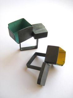 AntiGenre Jewelry  - rings -   Continuing the architectural theme, and experimenting with metal paint.