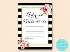 Advice for the Bride to be Card Black Stripes by MagicalPrintable