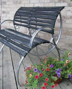 Bench made from recycled bicycle parts.