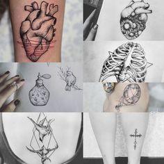 Tattoos from Luiza Oliveria.  Atomically correct heart | Birds | Cross | Anatomy Ribs, bones | Perfume | Hot air balloon world