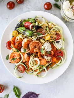 summer shrimp zoodle bowls I howsweeteats.com