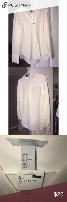 Cream/white button up long sleeve shirt White button up with a cream color to it, never worn H&M Tops Button Down Shirts