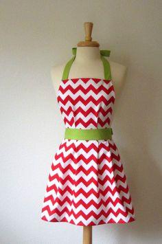 Christmas Apron, Red and White Chevron Stripe. $34.00, via Etsy.