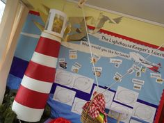 The Lighthouse keepers lunch School Displays, Classroom Displays, Classroom Themes, First Week Activities, Holiday Activities, Lighthouse Keepers Lunch, People Who Help Us, Bucket And Spade, Duck Pond