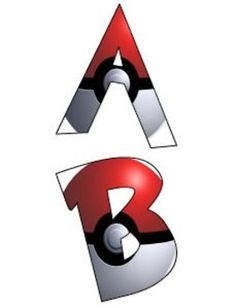 These alphabet letters are Pokemon themed font and are filled with Pokeball…