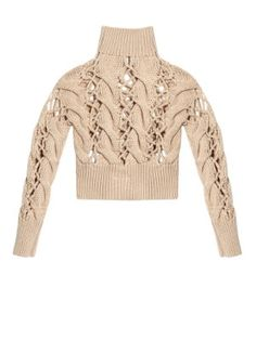 by Maison Margiela Chunky cable-knit sweater Chunky Cable Knit Sweater, Chunky Knitwear, Cropped Sweater, Beige Sweater, Black Cardigan, Knitwear Fashion, Knit Fashion, Fashion Outfits, Beige Crop Tops