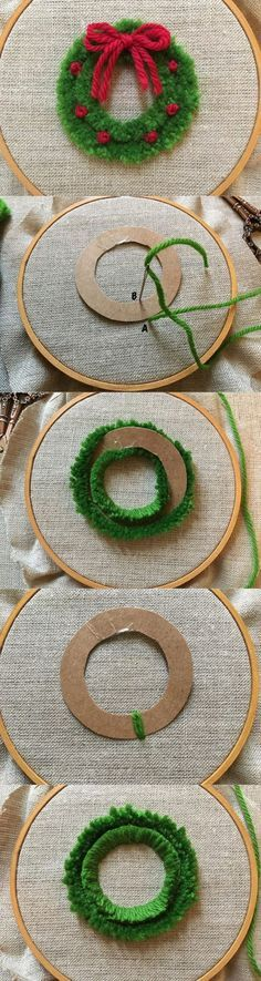 feeling stitchy: MooshieStitch Monday: Plushwork Wreath Quick and easy diy wreath for Christmas decor! Christmas Sewing, Christmas Embroidery, Christmas Wreaths, Christmas Gifts, Winter Christmas, Christmas Cross Stitches, Knitted Christmas Decorations, Cross Stitch Christmas Ornaments, Christmas Knitting