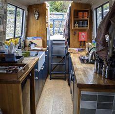 Narrowboat Kitchen, Narrowboat Interiors, Liveaboard Boats For Sale, Best Interior, Interior Ideas, Interior Design, Canal Boat Interior, Tiny Boat, Luxury Rv