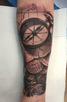 Compass and coin tattoo - 100 Awesome Compass Tattoo Designs handwerk logo 100 Awesome Compass Tattoo Designs Watercolor Compass Tattoo, Compass And Map Tattoo, Compass Tattoo Design, Skull Sleeve Tattoos, Map Tattoos, Foot Tattoos, Tatoos, Retro Tattoos, Girl Back Tattoos