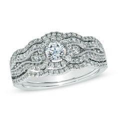 Celebration Grand® 1 CT. T.W. Diamond Vintage-Style Bridal Set in 14K White Gold (H-I/I1)