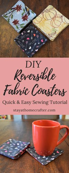 DIY Easy Reversible Fabric Coasters These DIY reversible fabric coasters are the easiest sewing project! This tutorial is perfect for beginners. These fabric coasters are beautiful and functional and would be wonderful little gifts! Diy Sewing Projects, Sewing Projects For Beginners, Sewing Hacks, Sewing Tutorials, Sewing Crafts, Sewing Tips, Beginer Sewing Projects, Halloween Sewing Projects, Sewing Lessons