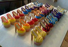 High heels cupcakes--This is so easy! The heels are made with Pirouette cookies, soles with Milano cookies and then your own homemade cupcakes.