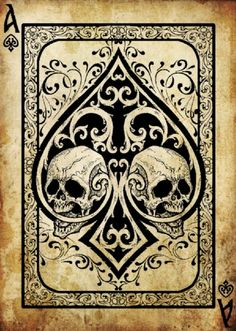 Ace of Spade, the Death Card would Make a Great Tattoo as this is a Victorian Depiction of the Ace.`