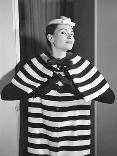 1954 - Balenciaga Striped wool coat with capelet collar, Photo by Walde Huth