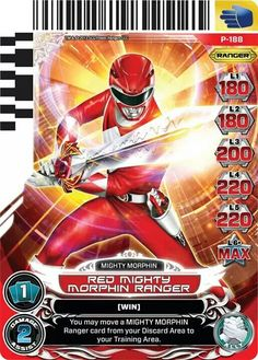 Red Mighty Morphin Power Ranger Trading Card