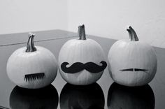 'Stached Pumpkins With just a bit of black felt or heavy tag board, you can create minimalistic, artistic mustache Halloween pumpkins just like blogger Annily Green. Simply cut out the shapes, and then your little one can adhere with tacky glue.