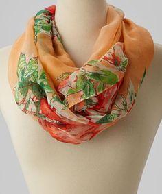 Look at this #zulilyfind! Orange & Tan Floral Infinity Scarf by Jasmine Trading Corp #zulilyfinds