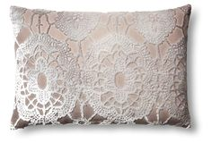 Large Lace 14x20 Velvet Pillow, Dove | One Kings Lane