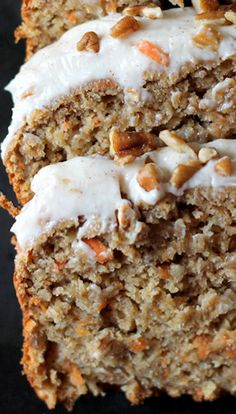 Carrot Cake Banana Bread with Thick Cinnamon Cream Cheese Frosting | Fall cakes, Holiday baking, Thanksgiving recipes