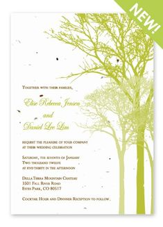 TreeSilhouette Invitation printed on  Grow-A-Note® plantable seed paper!