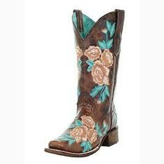 Corral Pink and Turquoise Flowered Square Toe Boot Tanner Mark Pink und Turquoise Flowered Square Toe Boot Cowboy Boots Women, Cowgirl Boots, Western Boots, Corral Boots Womens, Over Boots, Country Boots, Wedding Boots, Square Toe Boots, Bride Shoes