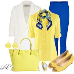 Blue Pants at Work - Polyvore