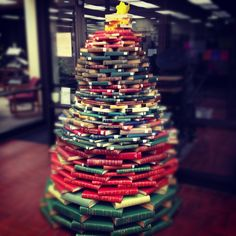 The b-e-a-utiful Christmas Tree in the OBU Library! Very clever! Very clever indeed!