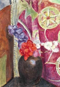 Vanessa Bell (1879-1961) Red and Blue Flowers in a Black Vase: