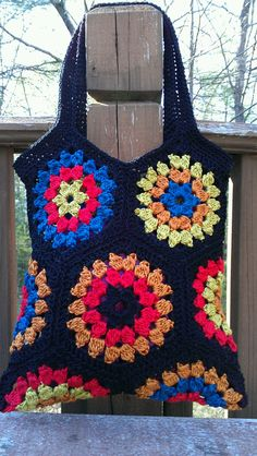 Crochet Granny Square Bag via Etsy.