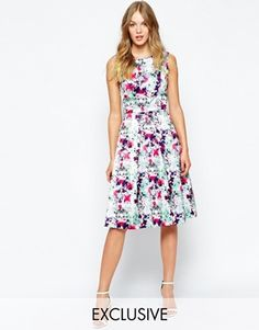 Enlarge Wolf & Whistle Inverted Pleat Dress In Mirrored Floral Print