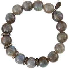 Sheryl Lowe 10mm Labradorite Beaded Bracelet with Diamond Rondelles ($650) ❤ liked on Polyvore featuring jewelry, bracelets, beaded bangles, bead jewellery, diamond jewellery, beading jewelry and charm jewelry