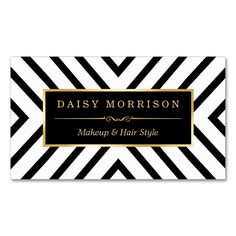 Fashion Beauty Gold Black White Line Pattern Double-Sided Standard Business Cards (Pack Of 100). Make your own business card with this great design. All you need is to add your info to this template. Click the image to try it out!