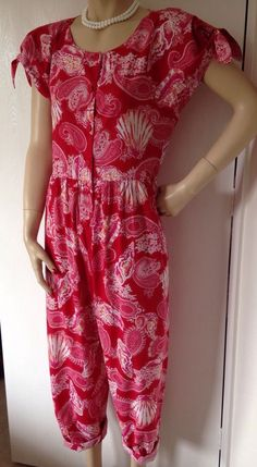 LAURA ASHLEY 80s VTG RED SEASHELLS PAISLEY JUMPSUIT DUNGAREES PLAYSUIT M