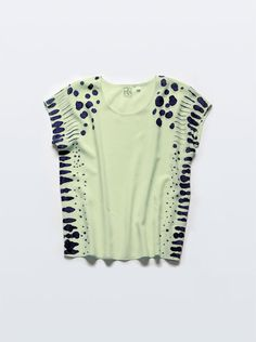 Silk Tee Lynx Dot in Chartreuse & Raven Blue
