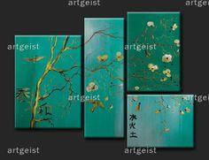 Triptychon Bilder - das türkise Glück Wandbild im Feng Shui Stil
