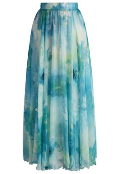 Dancing Watercolor Floral Maxi Skirt in Blue - Skirt - Bottoms - Retro, Indie and Unique Fashion